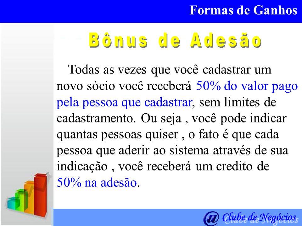 Formas de Ganhos Bônus de Adesão.