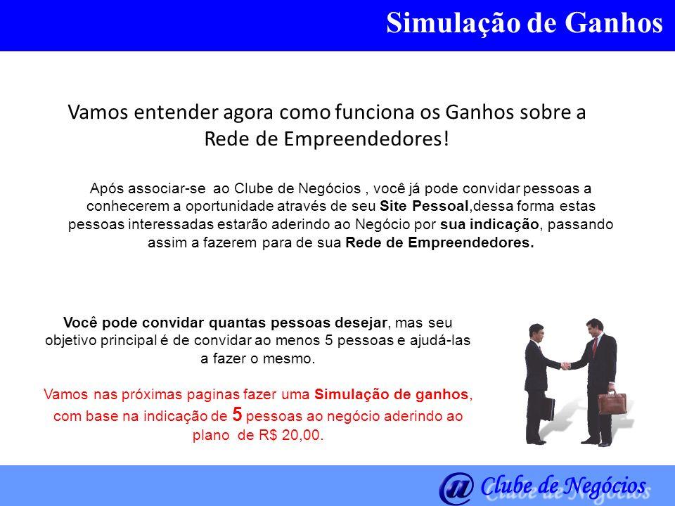 Simulação de GanhosVamos entender agora como funciona os Ganhos sobre a Rede de Empreendedores!