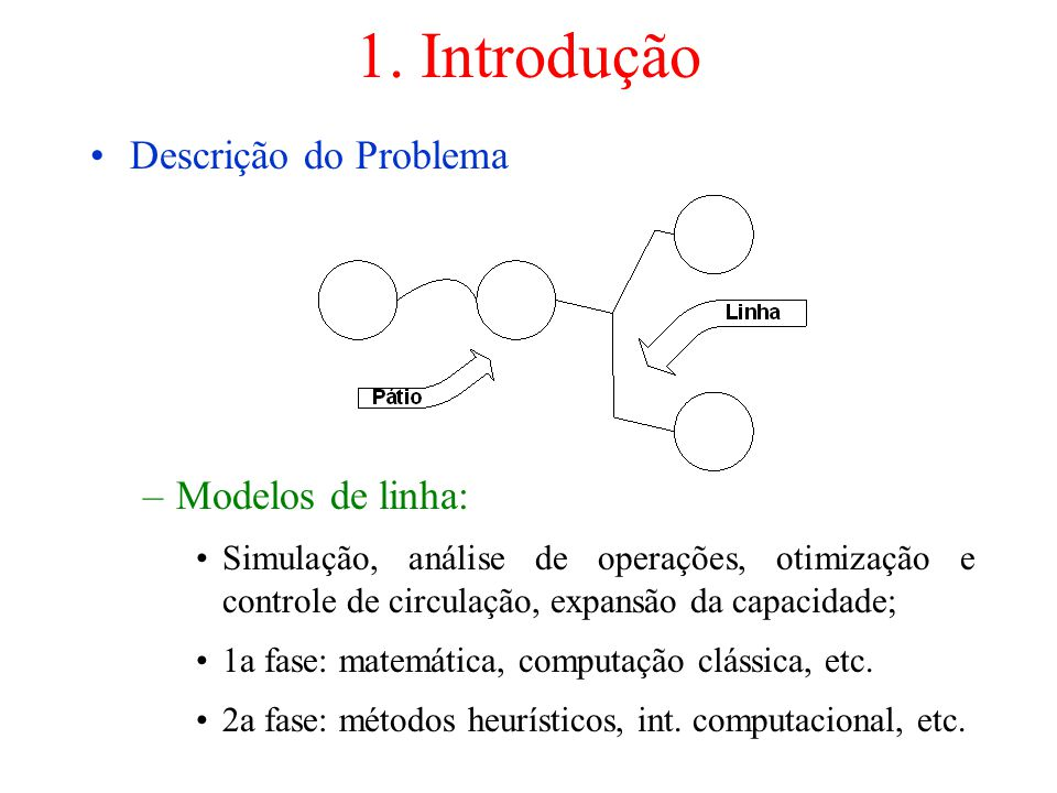 1. Introdução Descrição do Problema Modelos de linha: