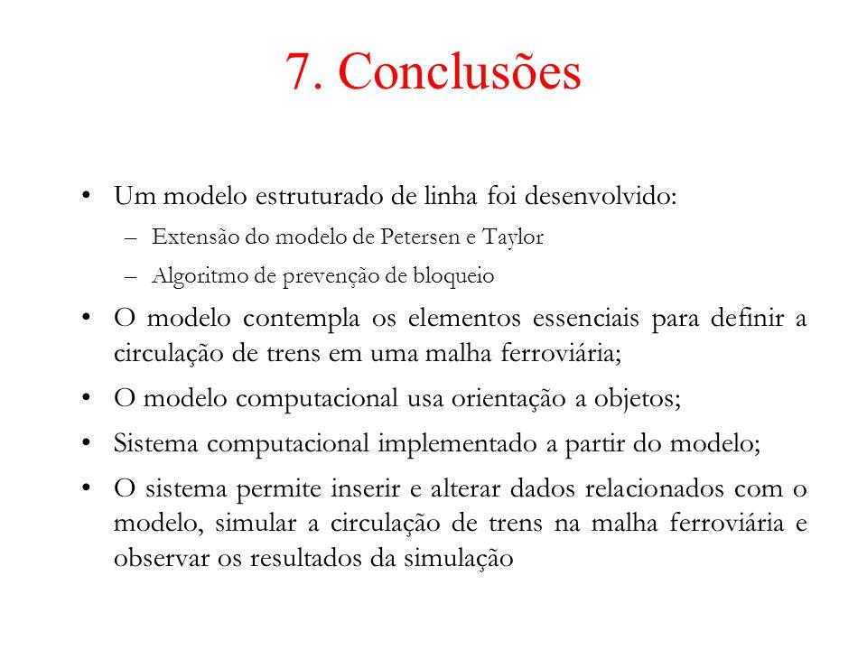 7. Conclusões Um modelo estruturado de linha foi desenvolvido: