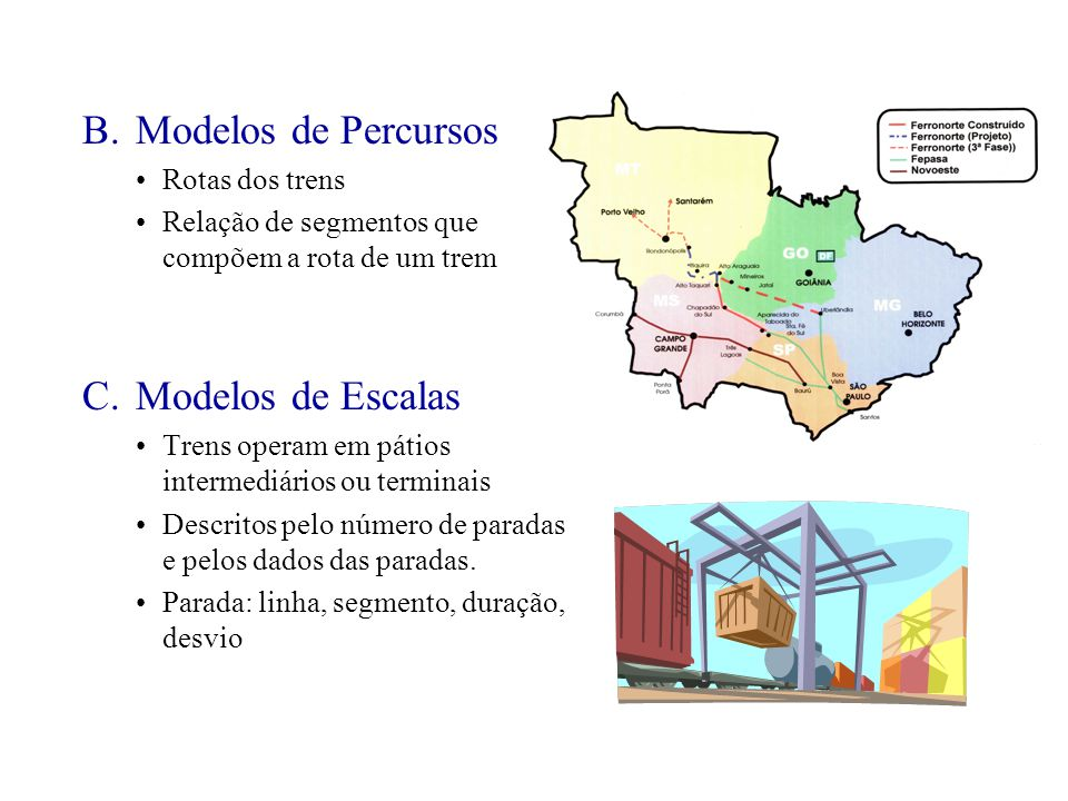 B. Modelos de Percursos C. Modelos de Escalas Rotas dos trens