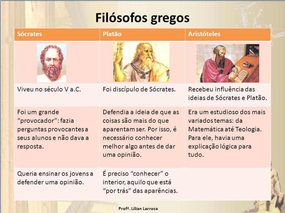 Filósofos gregos Sócrates Platão Aristóteles Viveu no século V a.C.