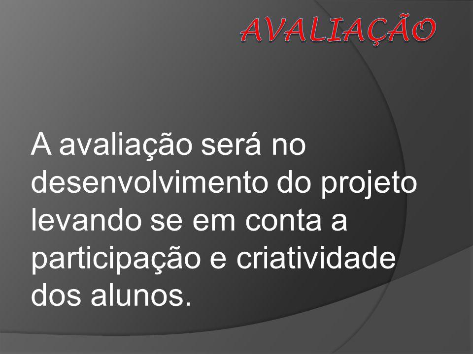 AVALIAÇÃO A avaliação será no desenvolvimento do projeto levando se em conta a participação e criatividade dos alunos.