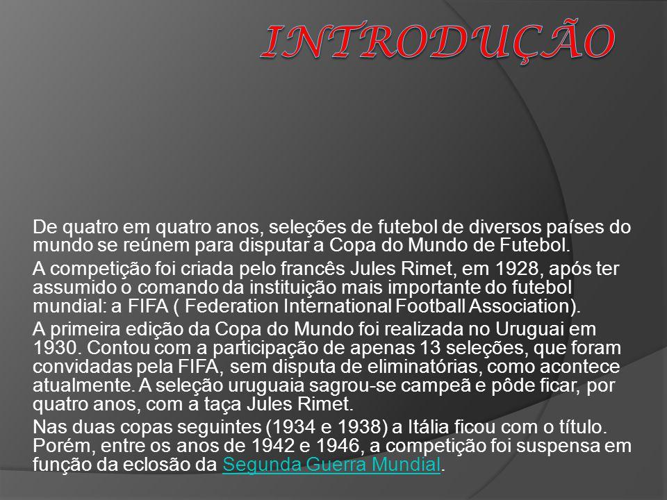 INTRODUÇÃO De quatro em quatro anos, seleções de futebol de diversos países do mundo se reúnem para disputar a Copa do Mundo de Futebol.