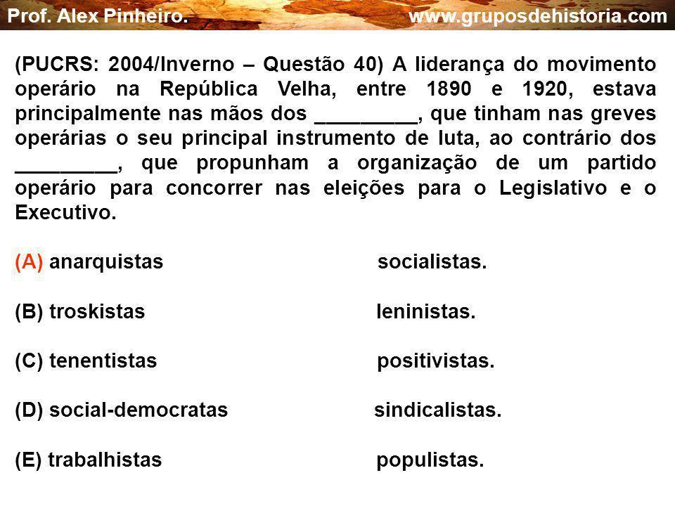 (A) anarquistas socialistas. (B) troskistas leninistas.