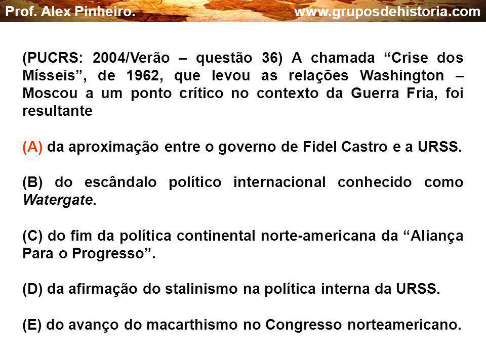(A) da aproximação entre o governo de Fidel Castro e a URSS.