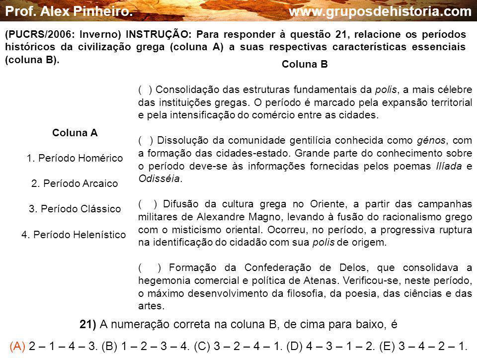 21) A numeração correta na coluna B, de cima para baixo, é