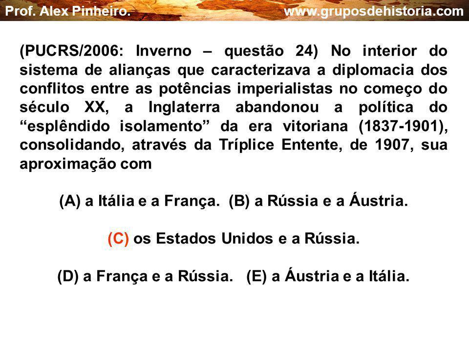 (A) a Itália e a França. (B) a Rússia e a Áustria.