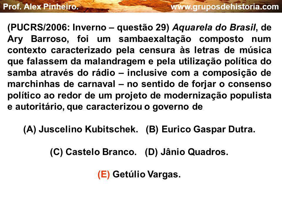 (A) Juscelino Kubitschek. (B) Eurico Gaspar Dutra.