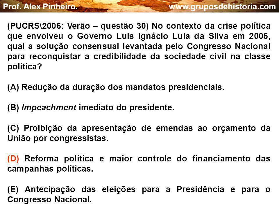 (A) Redução da duração dos mandatos presidenciais.