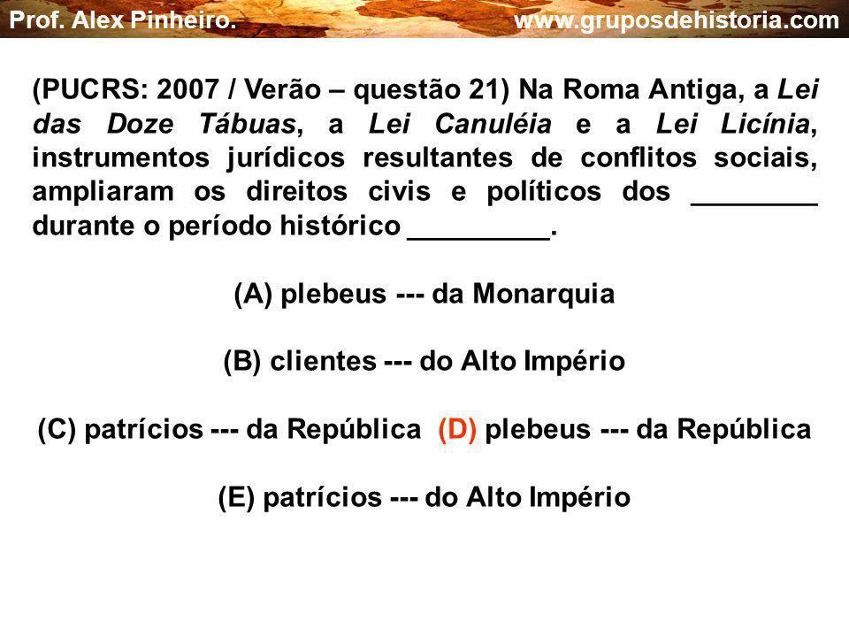 (A) plebeus --- da Monarquia (B) clientes --- do Alto Império