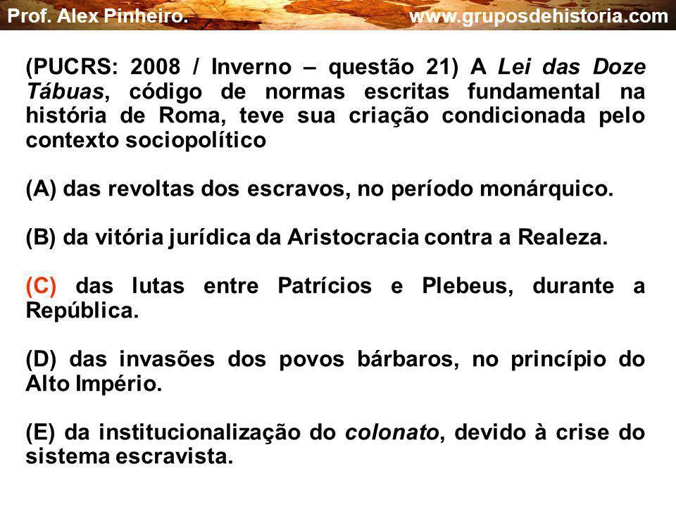 (A) das revoltas dos escravos, no período monárquico.