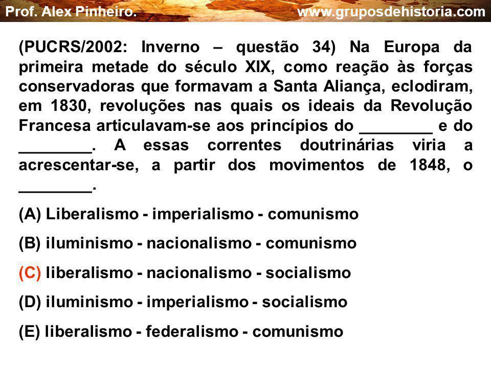 (A) Liberalismo - imperialismo - comunismo