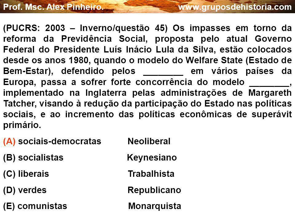 (A) sociais-democratas Neoliberal (B) socialistas Keynesiano