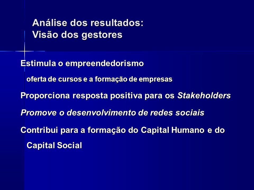 Análise dos resultados: Visão dos gestores