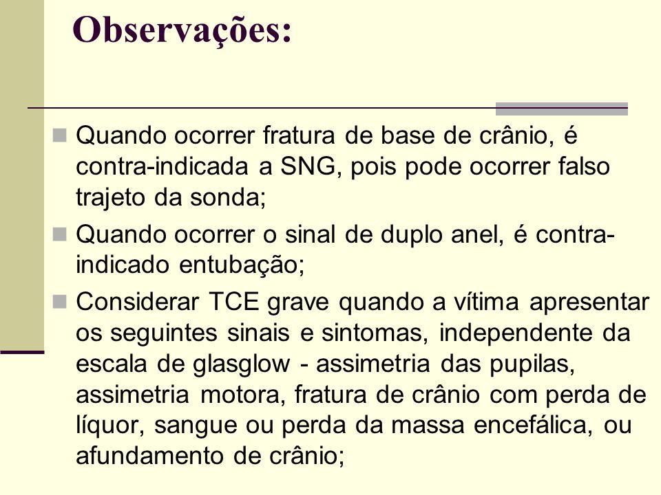 Observações: Quando ocorrer fratura de base de crânio, é contra-indicada a SNG, pois pode ocorrer falso trajeto da sonda;