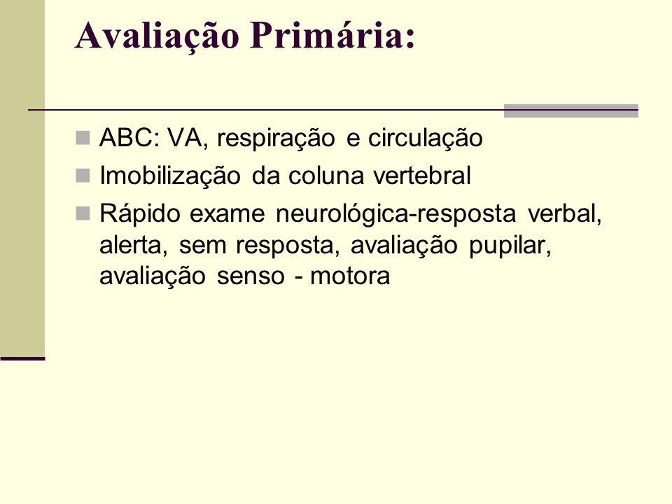 Avaliação Primária: ABC: VA, respiração e circulação