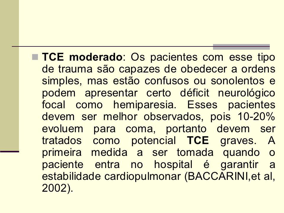TCE moderado: Os pacientes com esse tipo de trauma são capazes de obedecer a ordens simples, mas estão confusos ou sonolentos e podem apresentar certo déficit neurológico focal como hemiparesia.