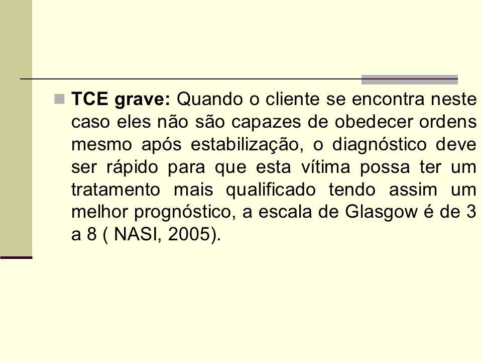 TCE grave: Quando o cliente se encontra neste caso eles não são capazes de obedecer ordens mesmo após estabilização, o diagnóstico deve ser rápido para que esta vítima possa ter um tratamento mais qualificado tendo assim um melhor prognóstico, a escala de Glasgow é de 3 a 8 ( NASI, 2005).
