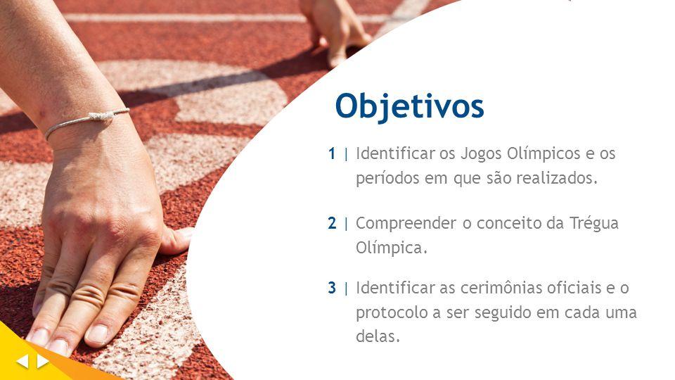 Objetivos 1 | Identificar os Jogos Olímpicos e os períodos em que são realizados. 2 | Compreender o conceito da Trégua Olímpica.