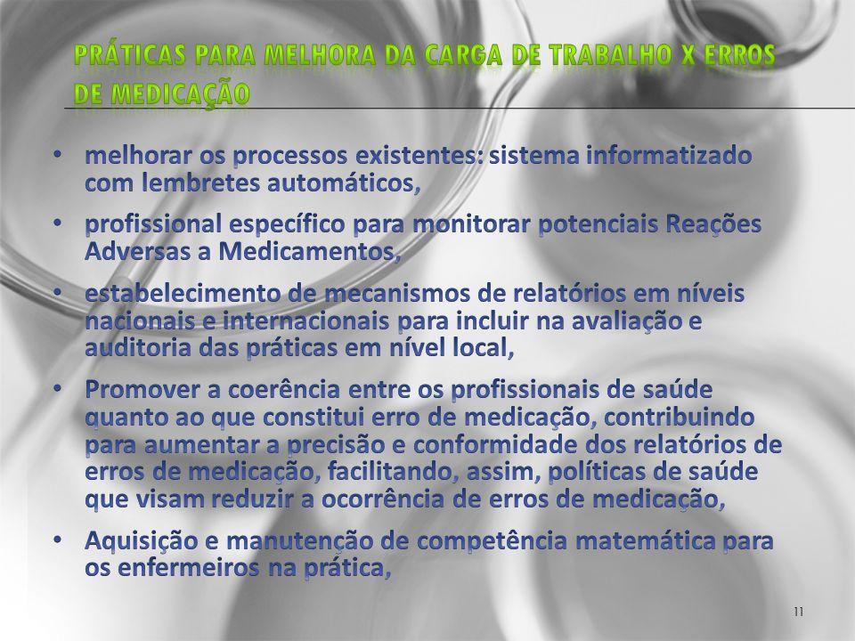 Práticas para melhora da carga de trabalho X erros de medicação