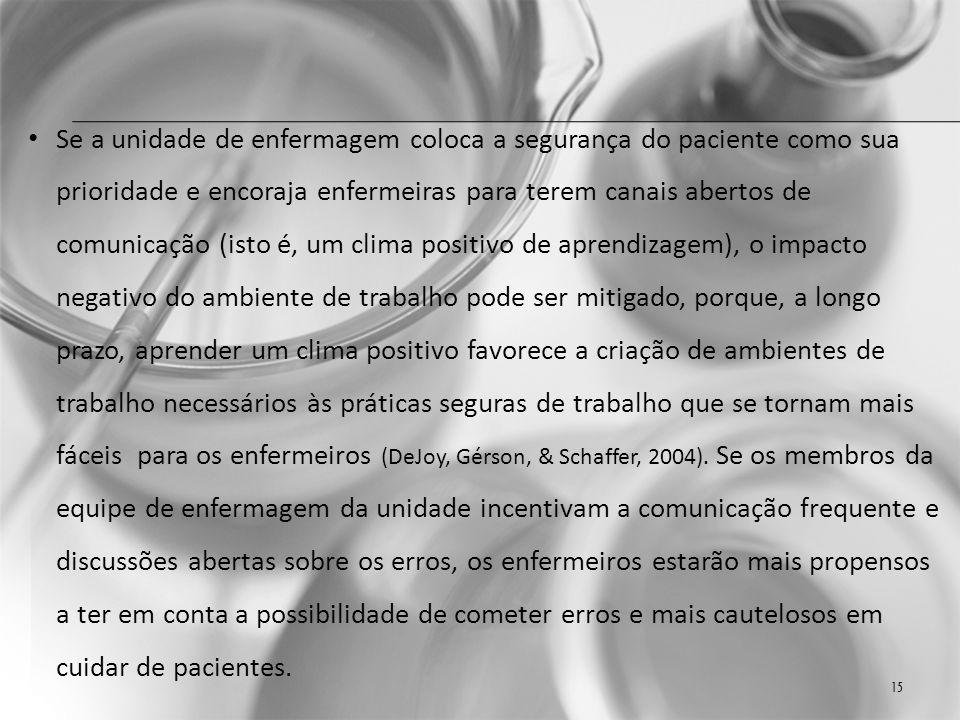 Se a unidade de enfermagem coloca a segurança do paciente como sua prioridade e encoraja enfermeiras para terem canais abertos de comunicação (isto é, um clima positivo de aprendizagem), o impacto negativo do ambiente de trabalho pode ser mitigado, porque, a longo prazo, aprender um clima positivo favorece a criação de ambientes de trabalho necessários às práticas seguras de trabalho que se tornam mais fáceis para os enfermeiros (DeJoy, Gérson, & Schaffer, 2004).