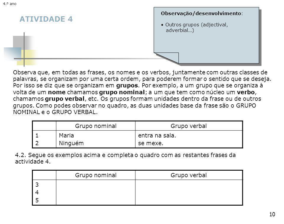 4.º ano 4.º ano. Observação/desenvolvimento: Outros grupos (adjectival, adverbial…) ATIVIDADE 4.