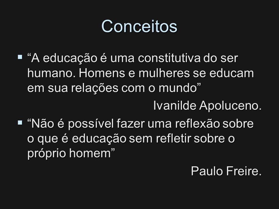Conceitos A educação é uma constitutiva do ser humano. Homens e mulheres se educam em sua relações com o mundo