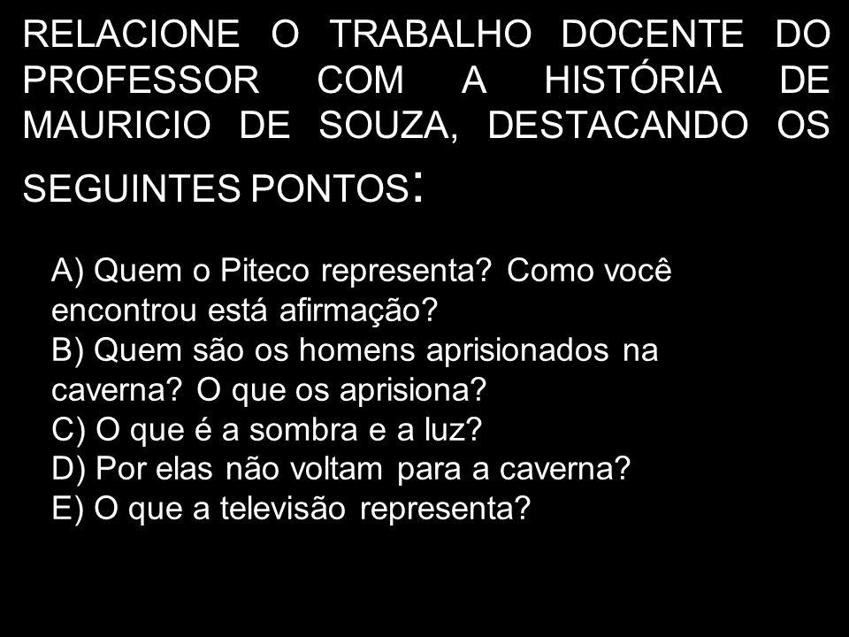 RELACIONE O TRABALHO DOCENTE DO PROFESSOR COM A HISTÓRIA DE MAURICIO DE SOUZA, DESTACANDO OS SEGUINTES PONTOS:
