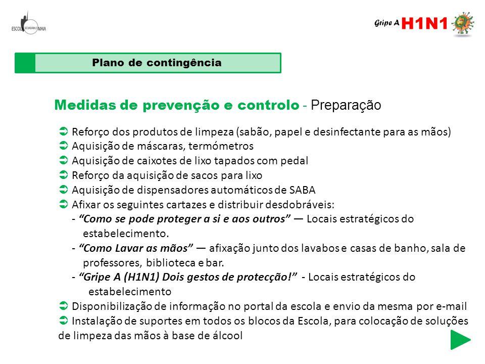 H1N1 Medidas de prevenção e controlo - Preparação