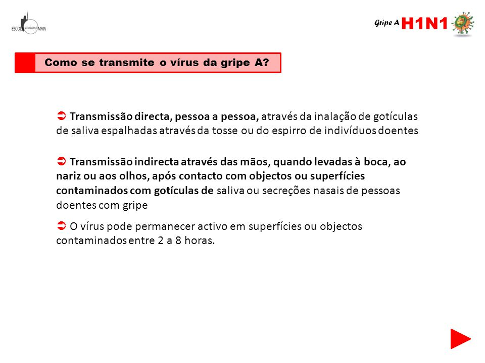 Como se transmite o vírus da gripe A