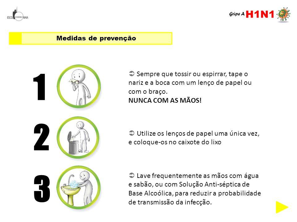 H1N1 Gripe A. Medidas de prevenção. 1.  Sempre que tossir ou espirrar, tape o nariz e a boca com um lenço de papel ou com o braço.