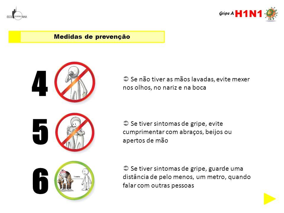 H1N1 Gripe A. Medidas de prevenção. 4.  Se não tiver as mãos lavadas, evite mexer nos olhos, no nariz e na boca.