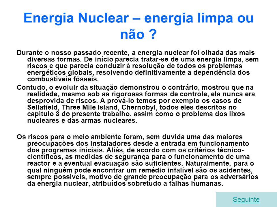 Energia Nuclear – energia limpa ou não