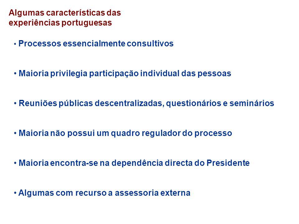 Algumas características das experiências portuguesas