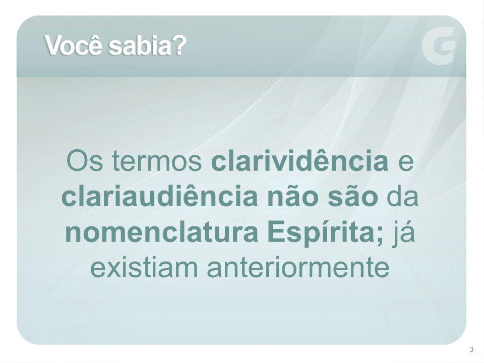 Os termos clarividência e clariaudiência não são da nomenclatura Espírita; já existiam anteriormente