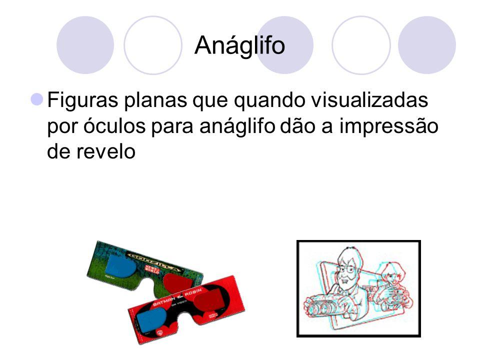Anáglifo Figuras planas que quando visualizadas por óculos para anáglifo dão a impressão de revelo.