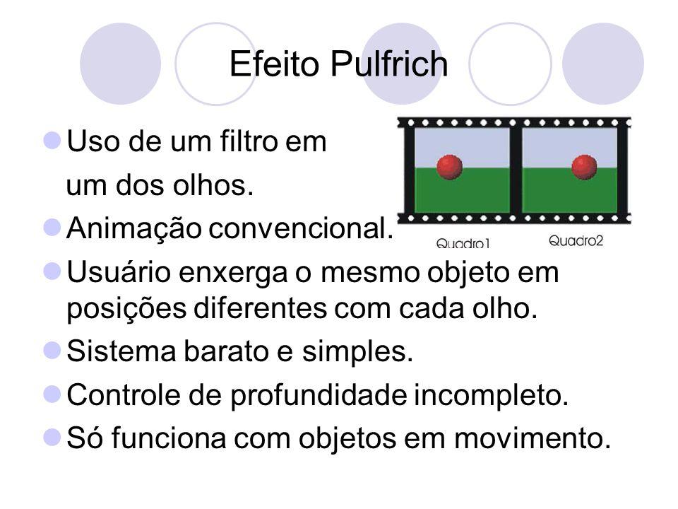 Efeito Pulfrich Uso de um filtro em um dos olhos.