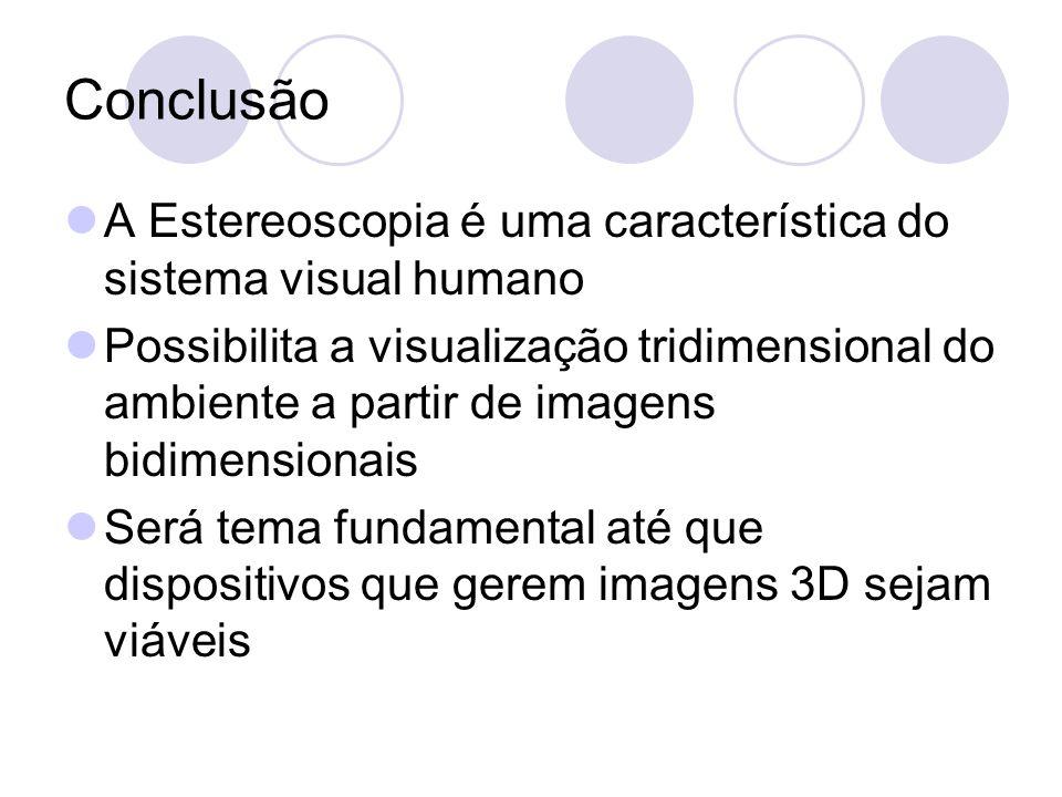 Conclusão A Estereoscopia é uma característica do sistema visual humano.