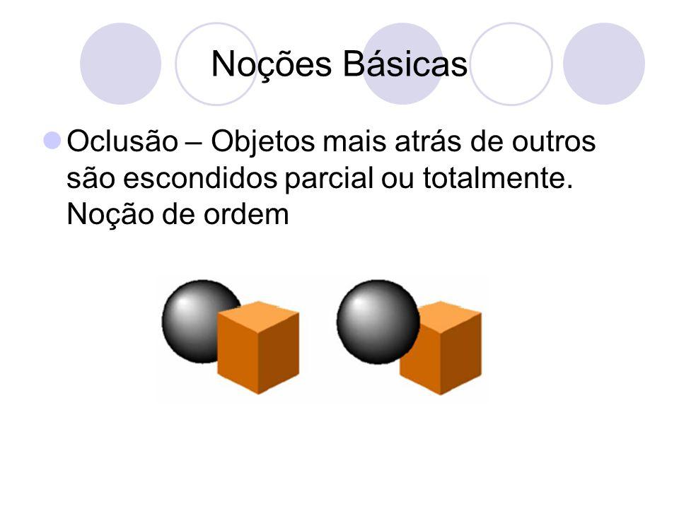Noções Básicas Oclusão – Objetos mais atrás de outros são escondidos parcial ou totalmente.