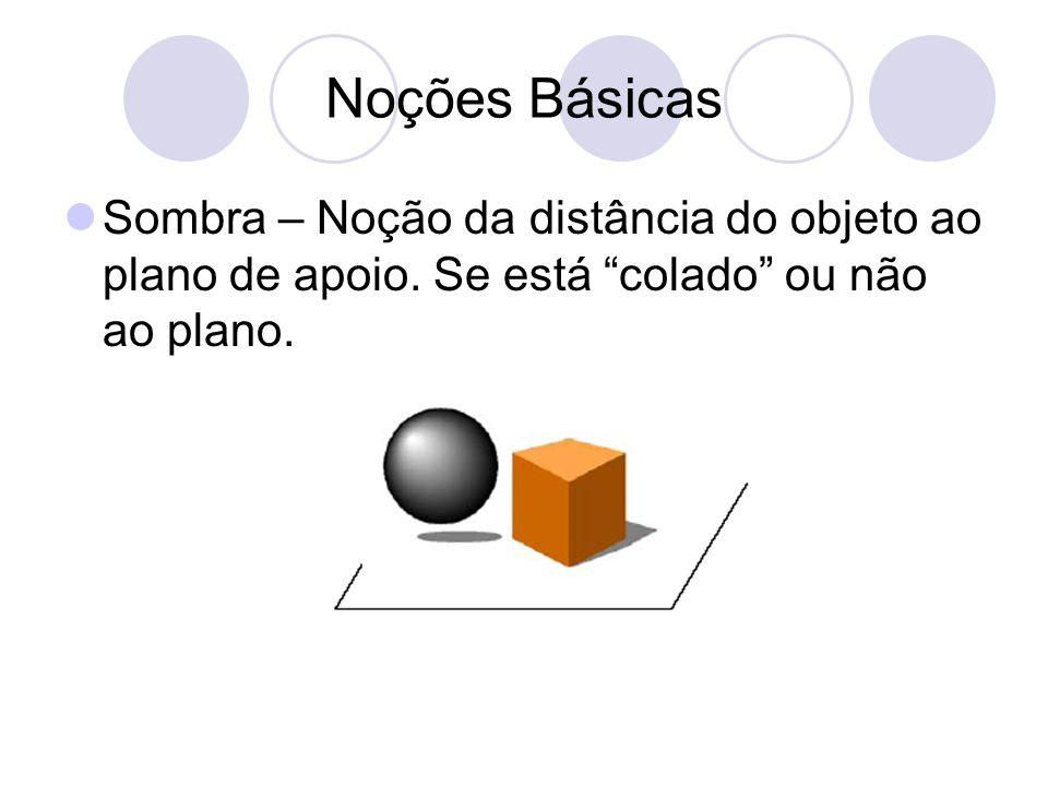 Noções Básicas Sombra – Noção da distância do objeto ao plano de apoio.