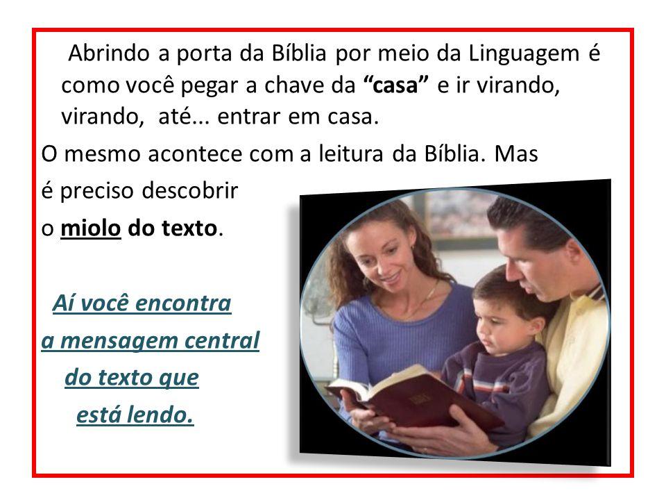 Abrindo a porta da Bíblia por meio da Linguagem é como você pegar a chave da casa e ir virando, virando, até... entrar em casa.