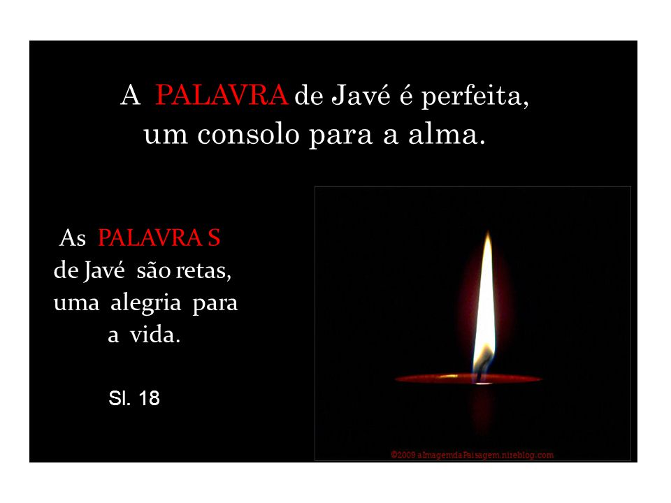 A PALAVRA de Javé é perfeita, um consolo para a alma.
