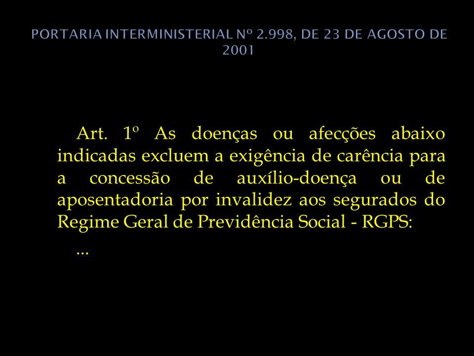PORTARIA INTERMINISTERIAL Nº 2.998, DE 23 DE AGOSTO DE 2001