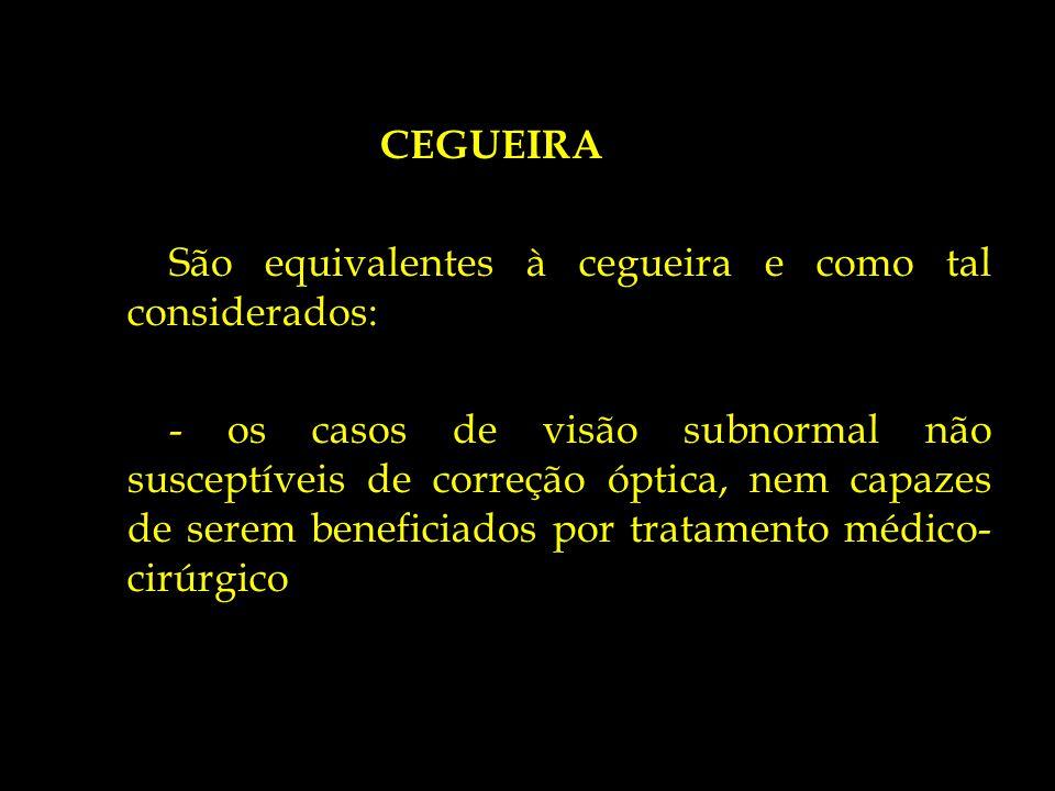 CEGUEIRA São equivalentes à cegueira e como tal considerados: - os casos de visão subnormal não susceptíveis de correção óptica, nem capazes de serem beneficiados por tratamento médico-cirúrgico
