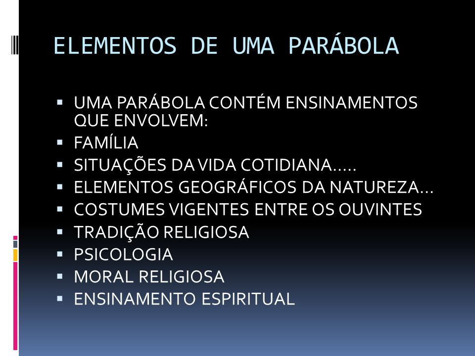 ELEMENTOS DE UMA PARÁBOLA