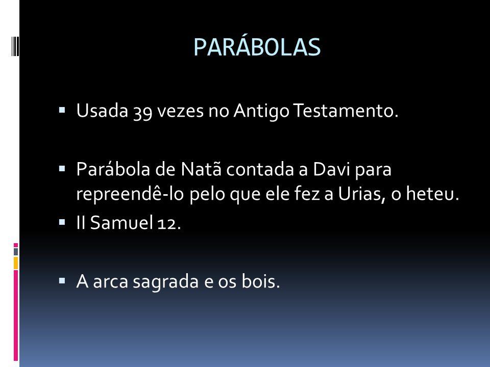 PARÁBOLAS Usada 39 vezes no Antigo Testamento.