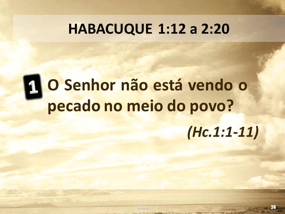 1 O Senhor não está vendo o pecado no meio do povo