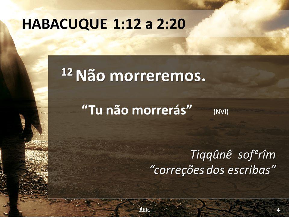 12 Não morreremos. HABACUQUE 1:12 a 2:20 Tu não morrerás
