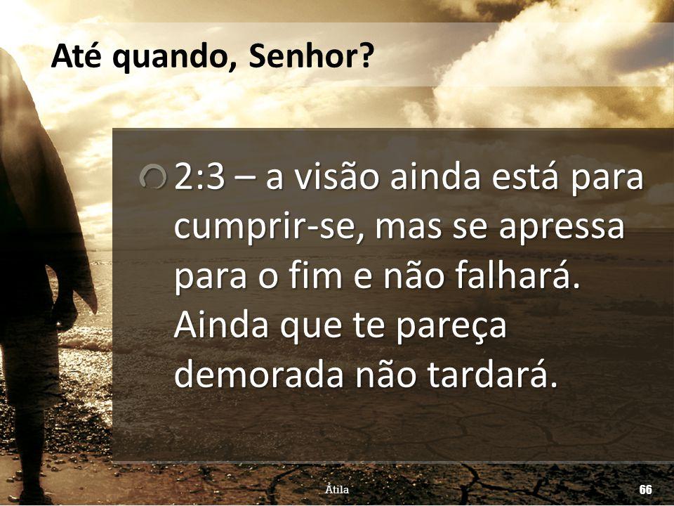 Até quando, Senhor 2:3 – a visão ainda está para cumprir-se, mas se apressa para o fim e não falhará. Ainda que te pareça demorada não tardará.
